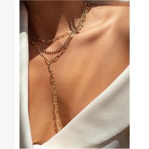 NWT Express X Luv AJ Maja Diamond Lariat Necklace